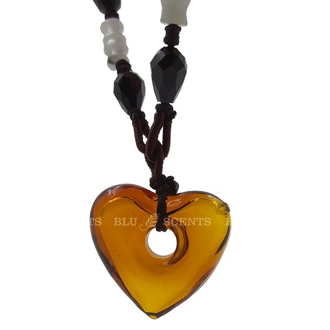 Amber Heart Shape Volcanic Glass Aroma Necklace