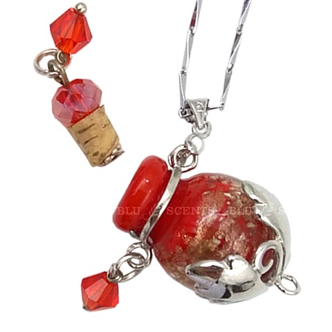 Bliss with Ruby Red Oval Aroma Necklace