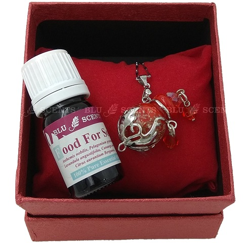 Food For Soul with Ruby Red Oval Aroma Necklace
